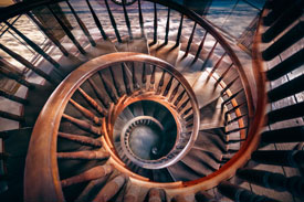 Photograph of spiral staircase by photographer, Maryann Bates.